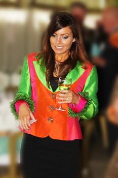 Multi-coloured silk Jacket bt Jenny Edwards-Moss. Stow-on-the-Wold