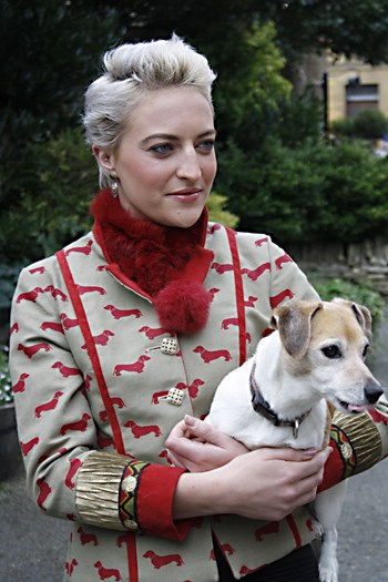 Red Dachsund Statement Linen Jacket by jenny Edwards-Moss. Stow-on-the-Wold
