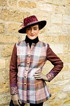 Purple tartan long wool jacket by Jenny Edwards-Moss