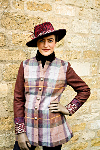 Purple tartan long wool jacket by Jenny Edwards-Moss