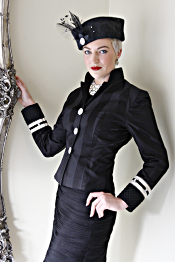 Black silk damask jacket. By Jenny Edwards-Moss