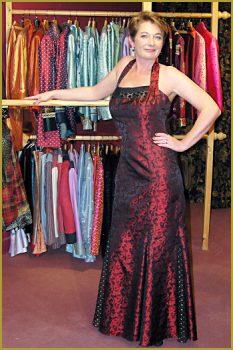 Full-Length Red Silk Brocade Dress