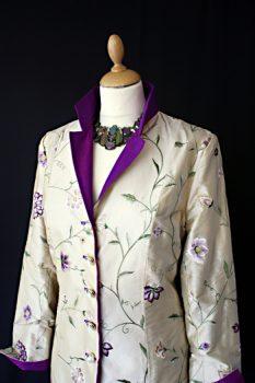 Ivory Purple Embroidered Silk Jacket