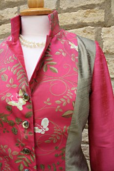 Fuchsia Pink Silk Brocade Jacket. Featuring Ivory Butterflies