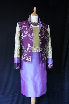 Gold and Purple Silk Wedding Outfit