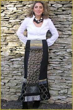 Original Black and Gold Long Silk Skirt