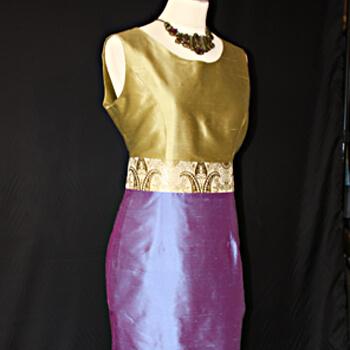 Gold and Blue Silk Dress by Jenny Edwards-Moss