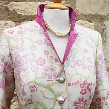 Pink and Ivory Silk Damask Coat by Jenny Edwards-Moss