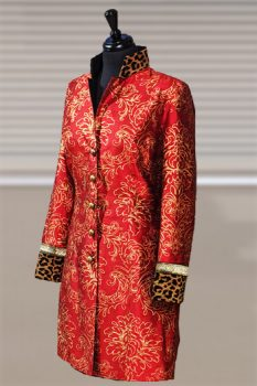Red / Gold Printed Silk Coat