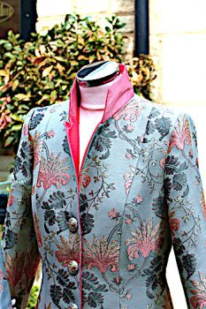 Blue Grey and Pink Silk Brocade Coat