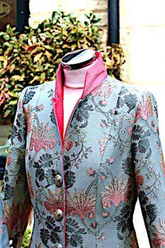 Blue Grey and Pink Silk Brocade Coat