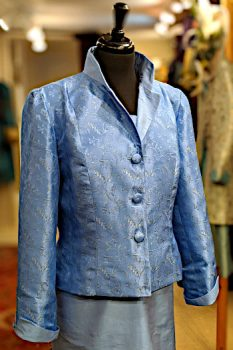 Blue Silver Silk Brocade Short Jacket