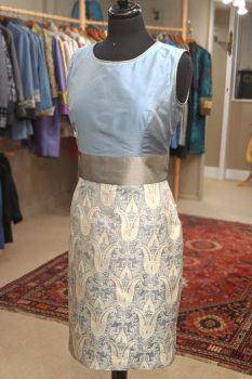 Plain blue and patterned silk dress