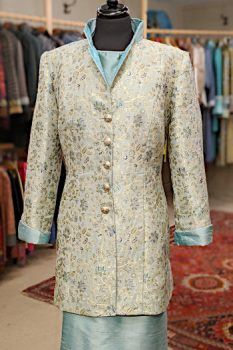 Mint Green Gold and Blue Silk Brocade Coat