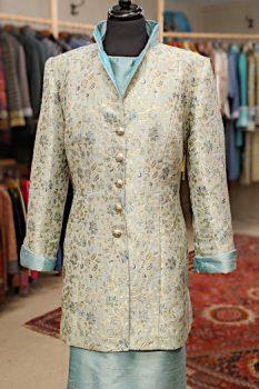Mint Green Gold and Blue Silk Brocade Coat