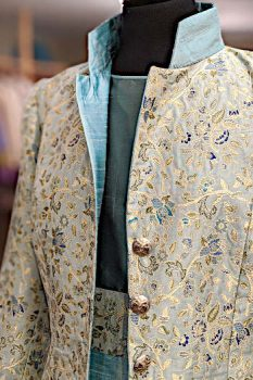 Mint Green Silk Brocade Jacket showing dress.
