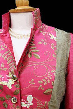 Pink and Gold Butterflies Silk Jacket