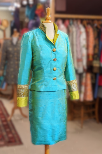 Turquoise Silk Jacket and Skirt